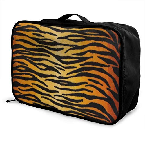 Bolsas de Maleta Animal Print Tiger Black Gold Young Men and Women School Luggage Bag Lightweight Large Capacity Portable Holiday Travel Bags Tote Duffel Carry-on in Trolley Holiday Suitcase Bag