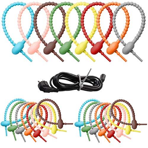 Bridas De Cables Reutilizables De Colores Bridas De Silicona para Cables Bridas De Goma Flexibles Bridas De Goma Soporte para Bridas De Silicona para Bolsas De Comestibles Bridas De Ahorro (24 Piezas)