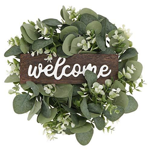 SOIMISS Künstliche Eukalyptus Kranz Blätter Zweig Girlande 33cm Willkommensschild Türkranz Willkommen Türschild Wandkranz für Wohnzimmer Wanddeko Hochzeit Frühling Haustür Deko