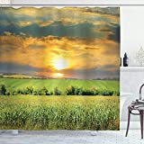 Ambesonne Rustic Shower Curtain, Corn Field and Sunrise Summer Sky Natural Paradise Pasture Mourning View Picture, Cloth Fabric Bathroom Decor Set with Hooks, 70' Long, Blue Green