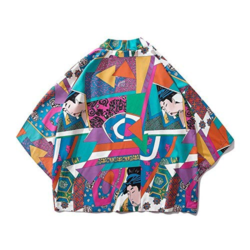 Mujeres Hombres Japonés Kimono Cardigan Albornoz Pijamas Pijamas Chaqueta Abrigo De Tres...