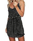 ACHIOOWA Vestidos Verano Mujer Vestido de Tiras para Mujer Cuello en V Estampado Lunares Vestidos Cortos y Casuales Playa con Cinturón 6-Negro M