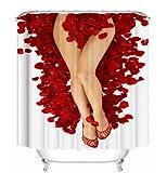 flooltercm Happy Valentines Day Cortinas de baño Cortina de baño Rose Petal Love Bath Sets 180 * 200 cm con Gancho