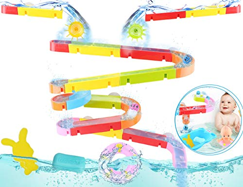 Great Deal! oUUoNNo Kids Bath Toys Fun Slide Splash Water Ball Track Stick with Suction Wheels Bathr...