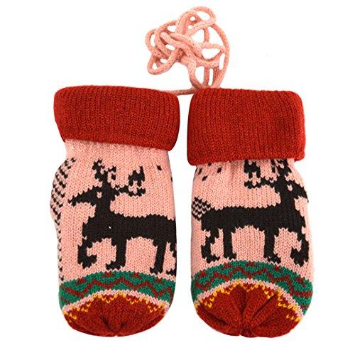 La Haute pour enfants hiver chaud gants en tricot thermique gants de cadeaux de Noël rose rose