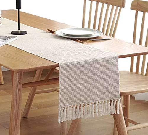 Cotton Linen Fringe Table Runner, Geometric Handmade Woven Fabric Decorative Table Runners, Macrame Tablerunner for Kitchen, Restaurant, Hotel, Cafe, 33x180 cm