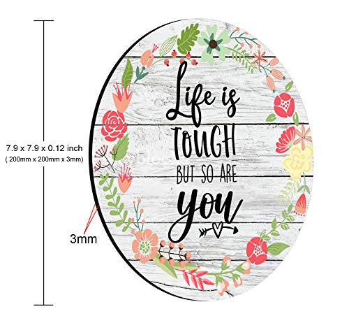 Smooffly Inspirational Quotes Vintage Colored Floral Flowers Wood Art Round Gaming Mouse Pad Custom, Life is Tough But So are You Circular Mouse Pads Photo #2