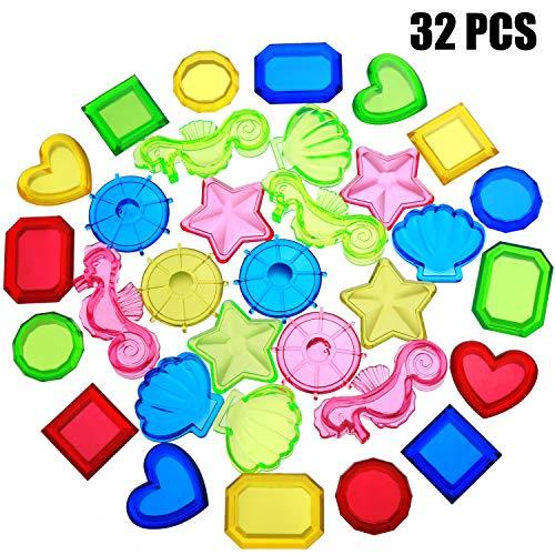 meekoo 32 Stücke Versenkung Tauchen Edelstein Schwimmbad Spielzeug Versenkung Tauchen Edelstein Bunte Acryl Edelsteine für Sommer Schwimmbad Party Gefälligkeiten