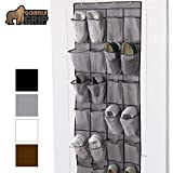 Gorilla Grip Premium Over The Door Shoe Organizer, 24 Durable Pockets, Hooks, Large Breathable Mesh Pocket Stores Shoes, Home Storage Organizers Hang on Closet Doors, Organize Sneakers Slippers, Gray