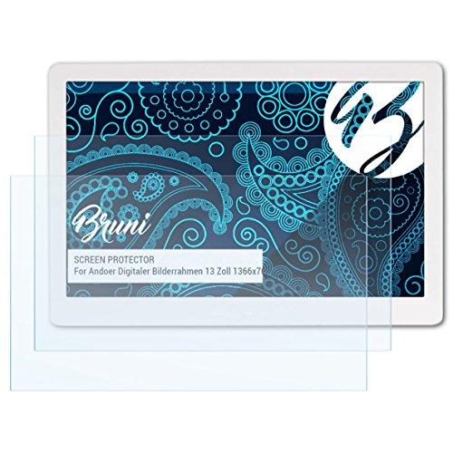 Bruni Schutzfolie kompatibel mit Andoer Digitaler Bilderrahmen 13 Zoll 1366x768 Folie, glasklare Displayschutzfolie (2X)