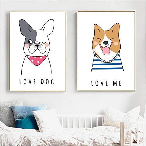 Cartoon Mooie hond muurkunst canvas schilderij Nordic poster en afdrukken dieren kinderkamer wandschilderijen baby kinderkamer popart decoratie 50x70cmx2