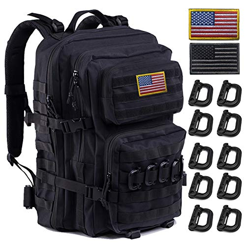 Upgrade Tactical Military Molle Backpack Army Waterproof Backpack(Black-01)