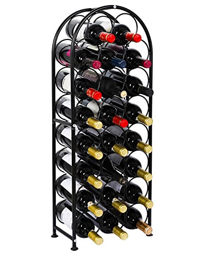 PAG 23 Bottles Arched Free-Standing Floor Metal Wine Rack Wine Display Holders Stands with 4 Adjustable Foot Pads, Black