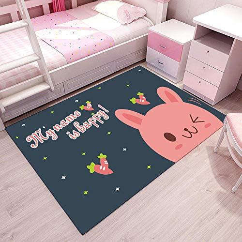 Pgron mit PastellfarbenTapis de lit rectangulaire antidérapant Pour Enfants, de Chevet de la Chambre, Tapis d'impression de Lapin Rose, 80 × 120cm
