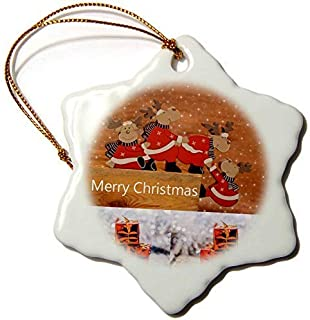 Dozili Christmas Decoration Cartoon Reindeers Presents and Merry 3 inch Ceramic Ornaments Merry