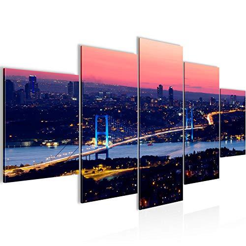 Istanbul Turquía Cuadro Lienzo no Tejido 5 Piezas Puente Panorama Azul Dormitorio Corredor 603853a