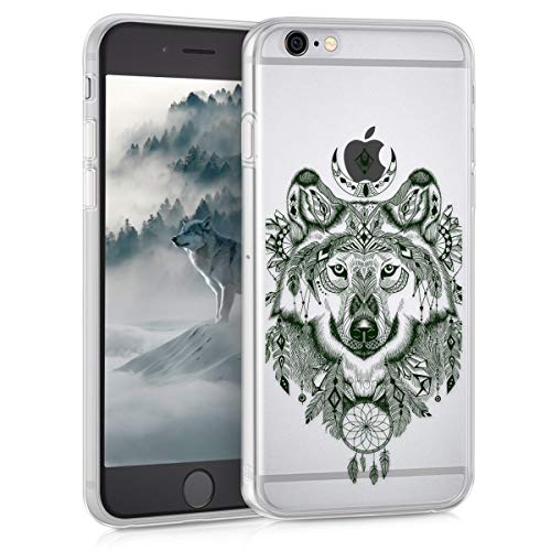kwmobile Hülle kompatibel mit Apple iPhone 6 / 6S - Handyhülle - Handy Hülle Wolf Ethno Schwarz Transparent