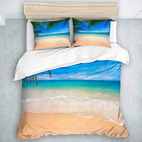 Bettbezug-Set, Ocean Image Einer tropischen Insel mit den Palmen und Clear Sea Beach Nature Theme Print, Bettwäsche-Set in natürlichem Look 3-teilig