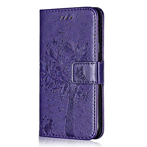 Bear Village Coque Sony Xperia XZ/Xperia XZs, Magnetique Étui en PU Cuir avec Fentes Carte de Crédit, Gaufrage Portefeuille Housse Coque pour Sony Xperia XZ/Xperia XZs, Violet