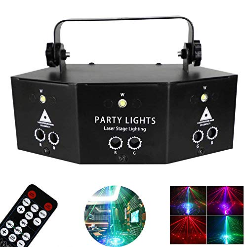 QWAS Remote 9-Eye RGB Scan Projector LED Strobe, Disco Stage Lights,Portable New Stage Lighting Lamp,for Party KTV Bar Stage Club Birthday Wedding Christmas
