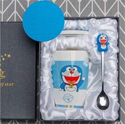 mingyuTazza da caffè in Porcellana e Set da tè, Piccola Tazza di caffè con Supporto Metallico, caffè, tè impilabile 11.7 * 12cm Blu