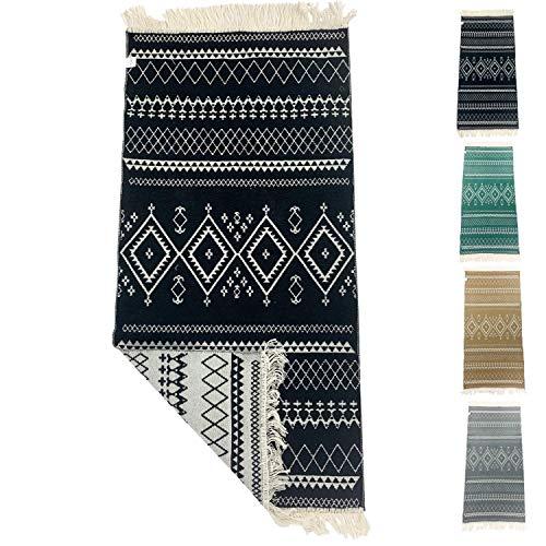 SOLTAKO Kleiner Kelim Teppich Läufer mit Fransen und Muster Retro Boho Ethno marokkanisch Berber waschbar Vintage (Schwarz/Ecru), 135 x 65 cm
