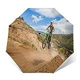 Paraguas Plegable Automático Impermeable Trail Sport Bicicleta Bicicleta Dirt Road, Paraguas De Viaje Compacto a Prueba De Viento, Folding Umbrella, Dosel Reforzado, Mango Ergonómico