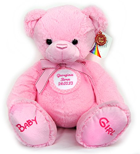 New Baby Girl First Personalised Pink Spotted Badge Pink Cuddly Teddy Bear Soft Toy Big 35cm