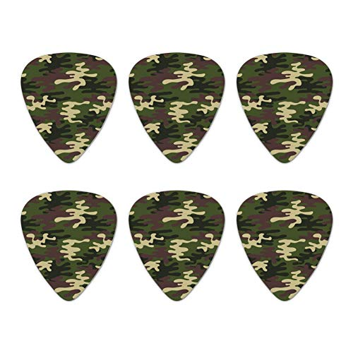Green Camouflage Novelty Guitar Picks Medium Gauge - Set of 6