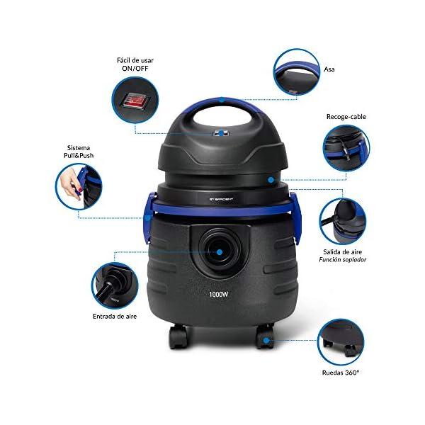 SAMBA Aspirador sólidos y líquidos Q7 Efficient,1000W, Filtro de Agua Lavable, Función Soplador, Capacidad 15l, 85dB, Incluye Accesorios para Tapicerías, Boquilla Estrecha, Soplador, Cepillo de Suelo