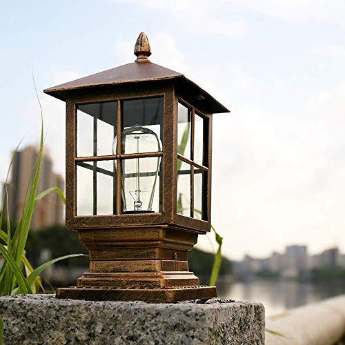 Außen Sockellampe Retro E27 Bronze Platz Garten-leuchte Aluminium und Acryl Säulelampe Wasserdichte IP54 Villa Balkon Rasen Terrasse Pfosten Zaun Wegelampe 18.5 * 15 * 35.5 cm