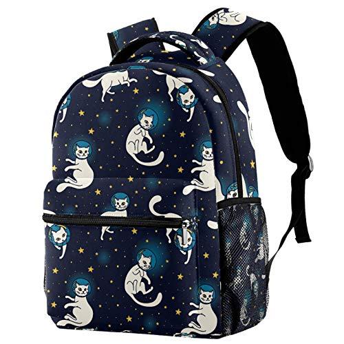 Mochila para niños Gatos astronautas de la Galaxia Mochilas Escolares para niños y niñas Mochilas Escolares Creativo para Viaje de Estudios 29.4x20x40cm