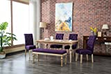 Roundhill Furniture Habitanian 6-Piece White Wash Dining Set with Tufted Chairs and Bench, Purple