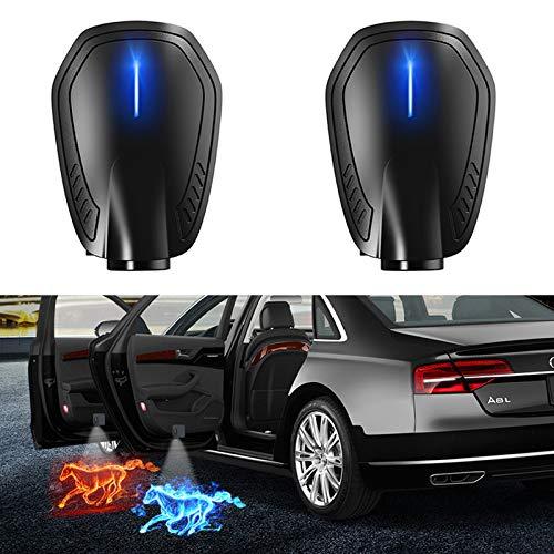 Luz de bienvenida a la puerta 2 unids Universal Wireless LED Puerta de coche Bienvenido Láser Proyector Logo Ghost Sombra Noche Luz Accesorios para automóviles con batería incorporada Luz de bienvenid