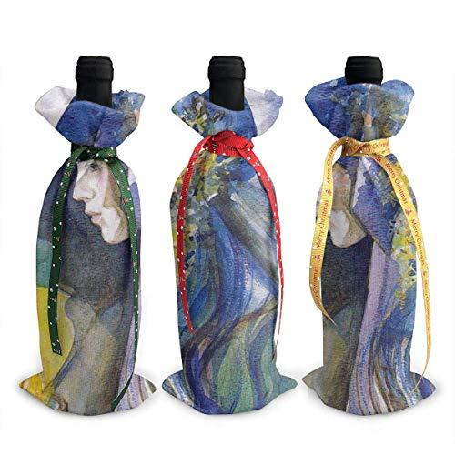 3 Stück Weinflasche Abdeckbeutel Griechische Mythologie Godd of Fire Hestia Weinflasche Geschenktüten für Dinner Party Tischdekoration