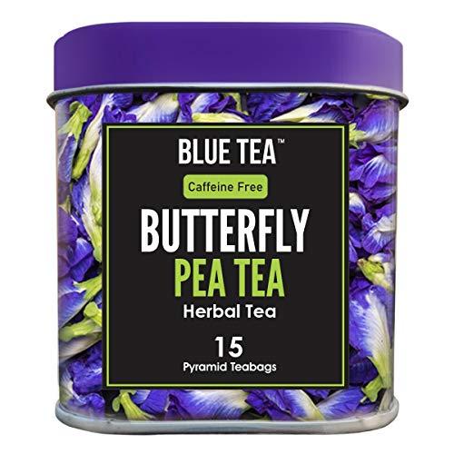 BLUE TEA - Reine Schmetterlingserbsenblume - 15 Pyramidenteebeutel (30 Tassen)   Premium Blechpackung  