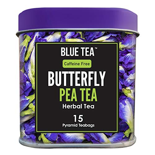 BLUE TEA - Butterfly Pea Flower - 30 Cups - 15 Pyramid Tea Bags   Tin Pack   Makes Natural Blue Purple Pink Iced Tea, Cooler, Cocktails , Mocktails  