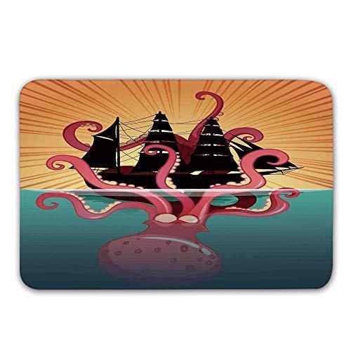 Tapis de Porte d'entrée Kraken Decor, Monstre de mer de Corail coulant Le Bateau Mythes rétro Ocean Folk Stories inspiré paillasson d'illustration pour Tapis de Bain intérieur ou extérieur