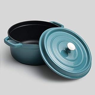 Yqs Olla de Hierro Fundido El Esmalte de Hierro Fundido puchero de Sopa sin Recubrimiento Antiadherente de Porcelana esmaltada de Salud Olla cazuela cazuela Cacerola 24-26cm (Color : Blue 26cm)
