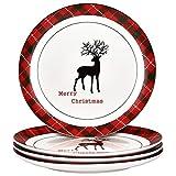 xmas dishes - Christmas Dinner Plates Set, Christmas Plate Set with Christmas Plaid and Reindeer, Porcelain Plate Set of 4 for Christmas Xmas