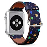 Compatible with Small Apple Watch 38mm & 40mm (All Series) Leather Watch Wrist Band Strap Bracelet with Stainless Steel Clasp and Adapters (Set Solar System Planets Mercury)