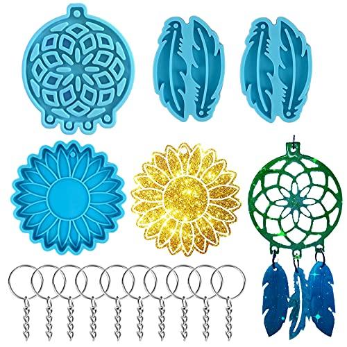 Souarts - Molde de silicona de resina epoxi para decoración de pared, colgante interior de coche, llavero (azul-14 unidades)