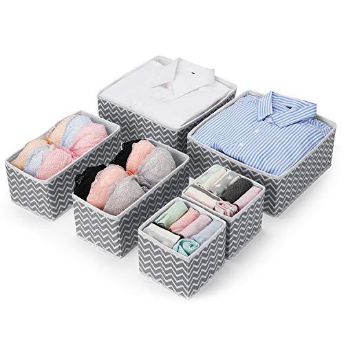 MaidMAX Aufbewahrungsbox Schubladen Ordnungssystem, Kleiderschrank Schubladen Organizer, Ordnungsbox für Unterwäsche BH Dessous Socken, Stoffbox Faltbox in 6er Set -Grau Zickzack