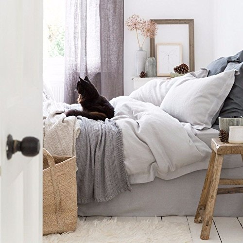 100% Pure French Linen - Double Duvet Cover - Light Grey