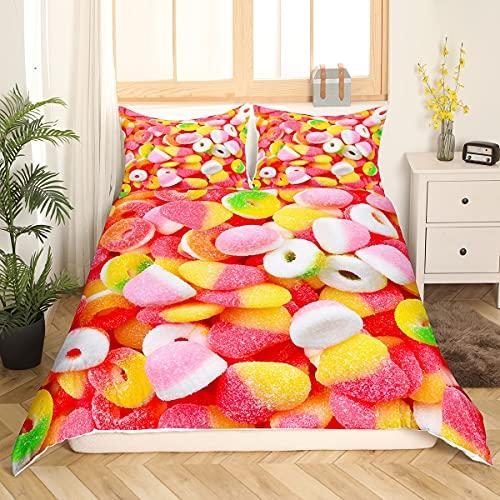 Verschiedene Gummibonbons Bettbezug Kinderzimmer Candy Bedruckte Tagesdecke Gemischte bunte Obstbonbons Bettwäsche-Set für Kinder Mädchen Snacks Tagesdecken 135x200 Pink Yellow Child Room Decor