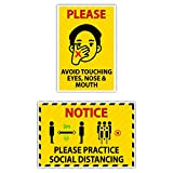 Avoid Touching Eyes ( 2 Stickers ) & Practice Social Distancing Stickers ( 2 Stickers ) Pearl Finish With High Quallity Gumming Sheet Package Contents: 4 Combo Stickers Item Size : 6 Inch *X 9 Inch* Each Sticker All graphics and artwork are designed ...
