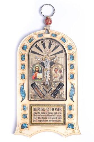 Home Blessing Crucifix avec pierres Semi-précieuses Jérusalem murale Maria Jesus Icon Holy à eau