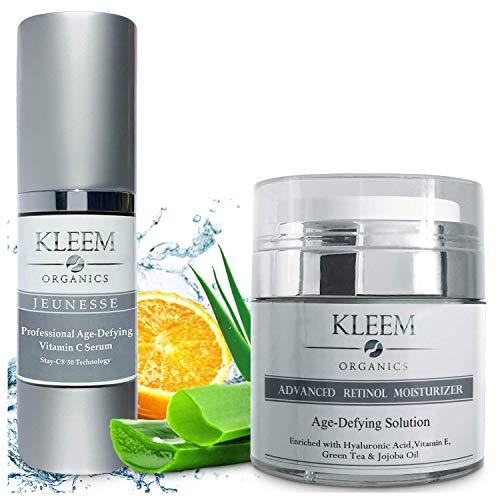 Vitamin C Serum & Retinol Cream for Face Bundle - Natural & Organic Anti Aging Skin Care Set for Men & Women to Reduce Wrinkles and Dark Spots