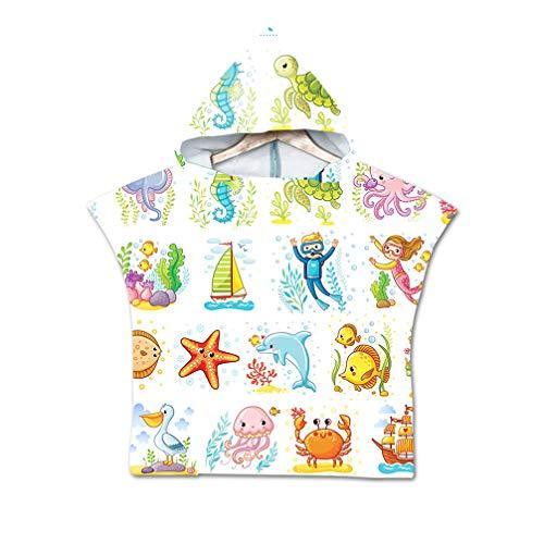 NAID Jongens Meisjes Unisex Kinderen Kinderen Hooded Strand Zwemmen Poncho Zachte Schattige Cartoon Schildpad Dolfijn Print Hooded Bad Handdoek