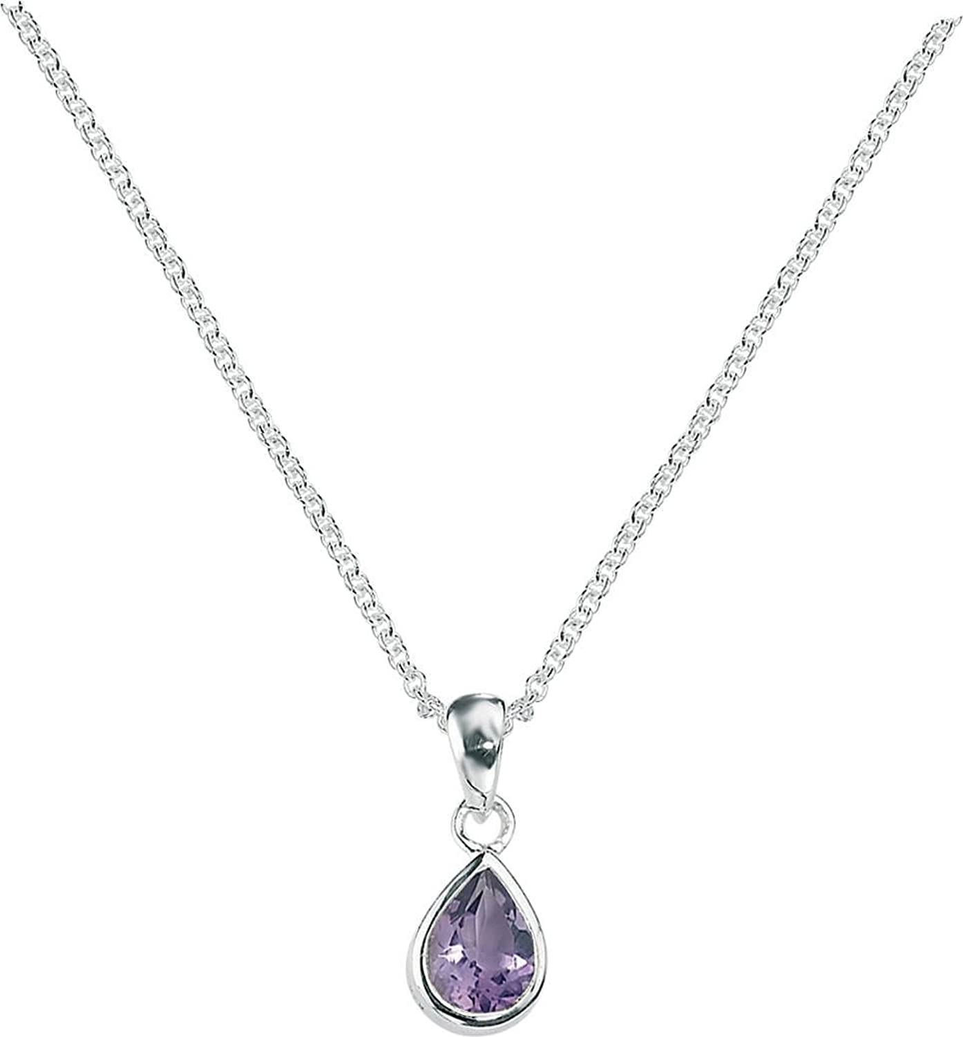 Elements Silver Womens Amethyst Teardrop Pendant  Silver Purple